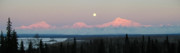 Denali National Park Photos - Winter Full Moon over Denali by Dora Miller