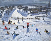 Snowfall Painting Framed Prints - Winter Fun Framed Print by Andrew Macara