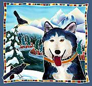 Happy Dog Framed Prints - Winter Fun Framed Print by Harriet Peck Taylor