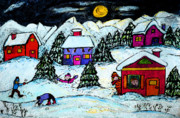 Winter Fun Drawings Prints - Winter Fun Print by Monica Engeler