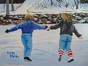Snowscape Painting Posters - Winter Fun Poster by Norm Starks