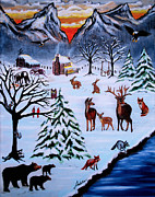 Mountain Cabin Paintings - Winter Gathering by Adele Moscaritolo