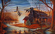 Log Cabin Art Paintings - Winter Getaway by Carmen Del Valle
