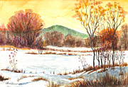 Landscape Framed Prints Drawings Prints - Winter Grace Print by Carol Wisniewski