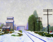 Railroad Snow Paintings - Winter Granary by Dan Scannell