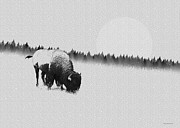 Bison Digital Art - Winter Graze by Ron Jones