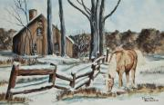 Split Rail Fence Painting Posters - Winter Grazing  Poster by Charlotte Blanchard