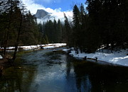 Reflections Of Trees In River Metal Prints - Winter Half Dome And The Merced River Metal Print by Jeff Lowe