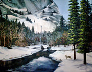 Half Dome Painting Prints - Winter Half Dome Print by Beverly Johnson