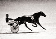 Pencil Sketch Mixed Media Prints - Winter Harness Racing Print by Ari Salmela