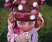 Ice Pastels Posters - Winter Hat and Ice Cream Poster by Marion Derrett