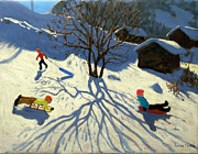 Sledging Prints - Winter hillside Morzine France Print by Andrew Macara