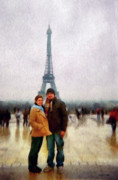 Couples Digital Art Prints - Winter Honeymoon in Paris Print by Jeff Kolker