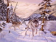 Grey Wolf Framed Prints - Winter Hunt Framed Print by Richard De Wolfe