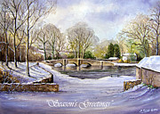 Stream Mixed Media Posters - Winter in Ashford Xmas card Poster by Andrew Read
