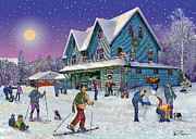 Snowstorm Digital Art Posters - Winter in Campton Village Poster by Nancy Griswold