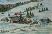 New England Village  Paintings - Winter In East Chatham Vermont by Charlotte Blanchard