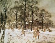 Winter Drawings Posters - Winter in Kensington Gardens Poster by Arthur Rackham