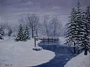 Snow Covered Pine Trees Paintings - Winter in Michigan by Vicky Path