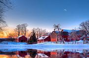 Red Barn Metal Prints - Winter In New England Metal Print by Michael Petrizzo