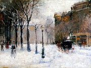 1901 Painting Prints - Winter in New York 1901 Print by Stefan Kuhn