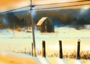 Barn Digital Art Prints - Winter In Powassan Ont. Print by Bob Salo