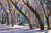 Park Benches Painting Posters - Winter in Rome Poster by L Diane Johnson