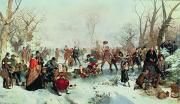 Winter Scenes Rural Scenes Painting Prints - Winter in Saint Jamess Park Print by John Ritchie