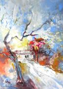 Gouache Paintings - Winter in Spain by Miki De Goodaboom