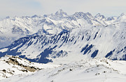 Snow-covered Landscape Photo Prints - Winter in the alps - snow covered mountains Print by Matthias Hauser