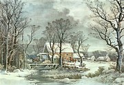 M J Posters - Winter in the Country - the Old Grist Mill Poster by Currier and Ives
