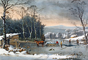 Dog In Lake Posters - Winter in the Country Poster by Currier and Ives