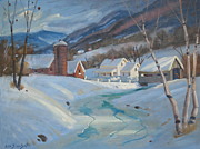 Covered Bridge Painting Metal Prints - Winter In The Hoosac Valley Metal Print by Len Stomski