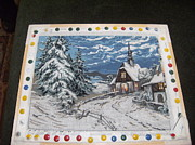 Winter-landscape Tapestries - Textiles Originals - Winter In The Village by Georgeta