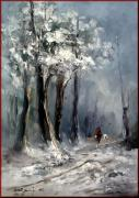Italian Landscapes Paintings - Winter in Tuscany by Rangi Sergio