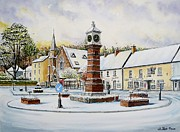 Town Square Drawings Prints - Winter In Twyn Square Print by Andrew Read