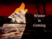 Snow Mixed Media Posters - Winter is Coming Poster by Anastasiya Malakhova