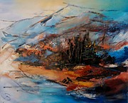 Painter Mixed Media - Winter is coming over the mountains by Elise Palmigiani