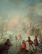Skating Paintings - Winter by Jacques de Lajoue