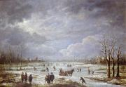 Snowy Trees Paintings - Winter Landscape by Aert van der Neer