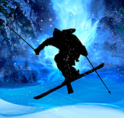 Ski Racing Paintings - Winter Landscape and Freestyle Skier by Elaine Plesser