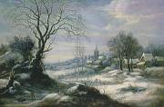 Village Paintings - Winter landscape by Daniel van Heil
