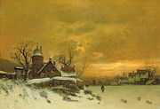 Buildings At Sunset Prints - Winter Landscape Print by Friedrich Nicolai Joseph Heydendahl