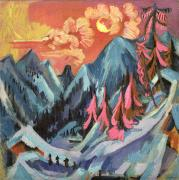 Winter Landscapes Metal Prints - Winter Landscape in Moonlight Metal Print by Ernst Ludwig Kirchner