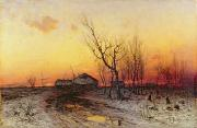 Sunset Scenes. Painting Posters - Winter Landscape Poster by Julius Sergius Klever
