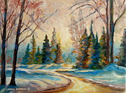 Sunset Scenes. Painting Framed Prints - Winter Landscape Knowlton Quebec Framed Print by Carole Spandau