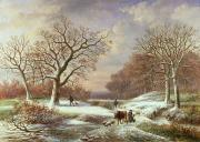 Snowfall Paintings - Winter Landscape by Louis Verboeckhoven