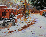 Night Cafe Painting Framed Prints - Winter landscape of Santa Fe Framed Print by Gary Kim
