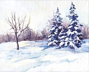 Bare Trees Painting Posters - Winter Landscape Poster by Peggy Wilson