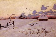 Crows Paintings - Winter Landscape by Pg Reproductions